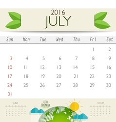2016 calendar monthly calendar template for july vector