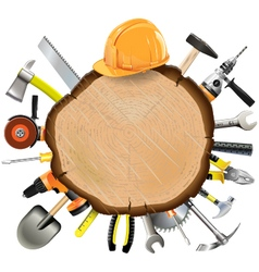 Construction wooden board with tools vector