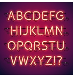 Glowing Neon Bar Alphabet vector image