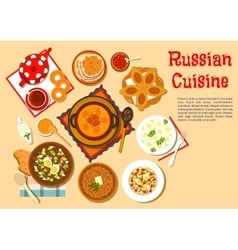 Popular main dishes and dessert of russian cuisine vector