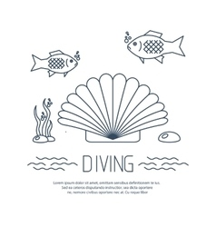 Diving icon with shell and fishs vector
