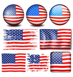 American flag in different designs vector image