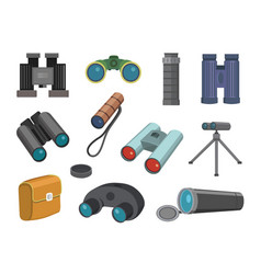 Binoculars glasses look-see isolated on white vector