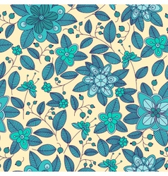 Blue seamless pattern of shrub with flowers and vector