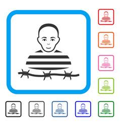 camp prisoner framed enjoy icon vector image