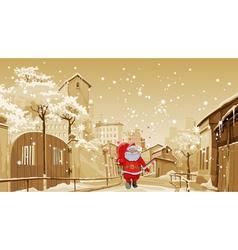 cartoon Santa Claus with gift bag walks vector image vector image