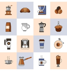 Coffee icons flat line set vector image