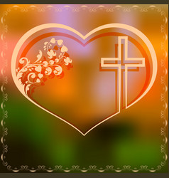 Design with heart and cross vector