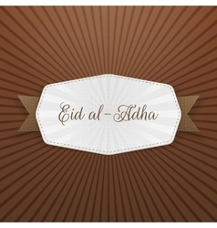 Eid al-adha badge with ribbon vector