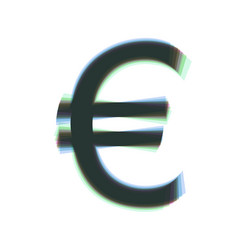 Euro sign colorful icon shaked with vector
