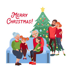 Family christmas grandparents with grandchildren vector
