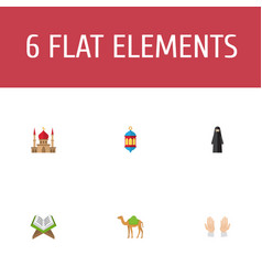 flat icons palm holy book dromedary and other vector image vector image