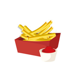 French fries box with sauce vector