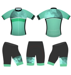 Green polygons cycling vest vector