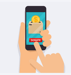 Hand holding mobile smart phone with donation vector