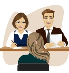 Interview with woman candidate for recruitment job vector