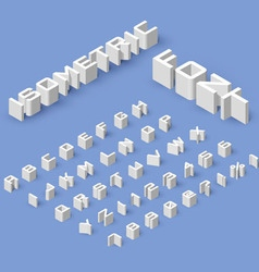 Isometric font set vector image vector image