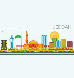 Jeddah skyline with color buildings and blue sky vector