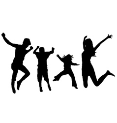 jumping family vector image vector image