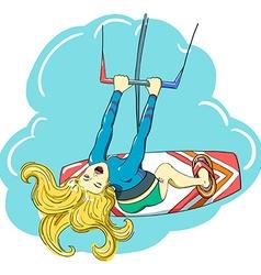 Kitesurfing happy jumping girl vector