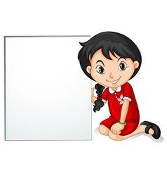 Little girl from hongkong holding sign vector