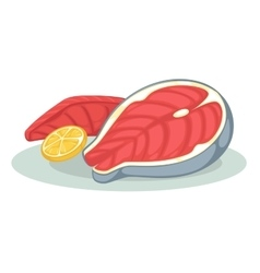 Piece or slice red fish Raw salmon steak - fresh vector image vector image