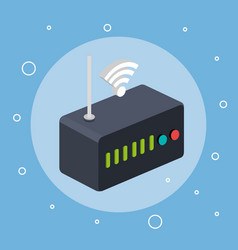 Router modem wifi internet signal connection vector