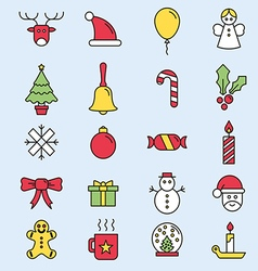 Set flat outlined Christmas icons vector image