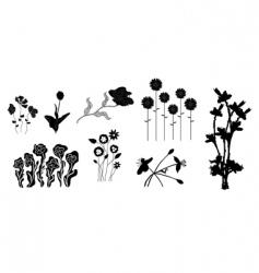 set of floral design elements vector image vector image