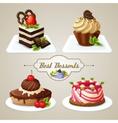 Sweets cakes dessert set vector