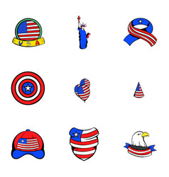Usa icons set cartoon style vector