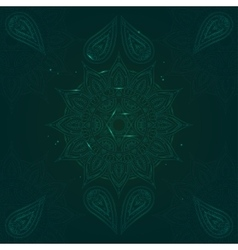 Chakra anahata on dark green background vector