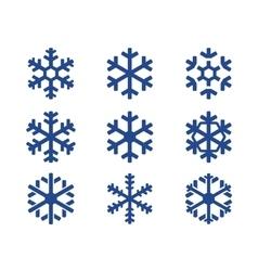 Snowflake blue icons set vector