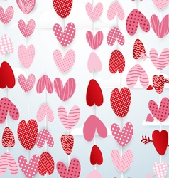 Cute hearts hang in the sky valentines day concept vector