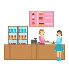 Girl ordering a cake at the counter smiling vector