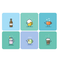 Set of cold and hot drinks cute cartoon characters vector