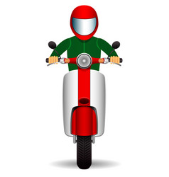 Scooter biker front view vector