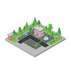 Isometric city street and store vector