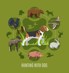 Hunting with dog concept vector