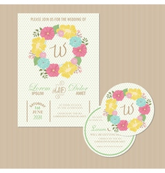 Set of wedding invitation card vector
