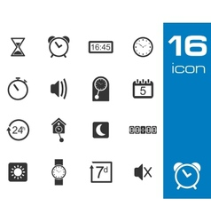 Black time icons set vector