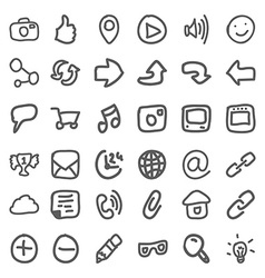 Set of hand draw social icons vector