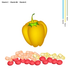 Yellow bell peppers with vitamin c b6 and k vector