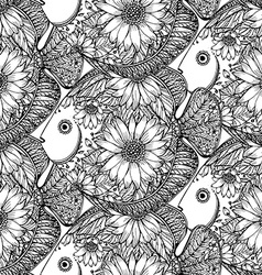 Seamless pattern with beautiful hand drawn fishes vector