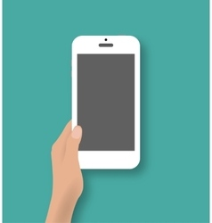Hand holding white touch phone vector