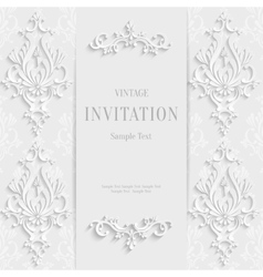 White christmas vintage invitation card vector