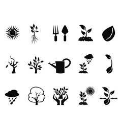 Tree sprout growing icons set vector