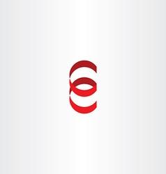 Red logo letter e spiral icon ribbon vector