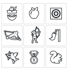 Set of archery icons robin hood apple vector