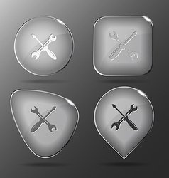 Screwdriver and spanner glass buttons vector